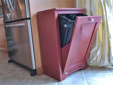 tilt out wood trash cabinet 0